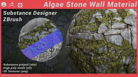 Algae on Stone Material Substance Designer ZBrush