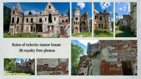 Ruins of eclectic manor house | Reference pack