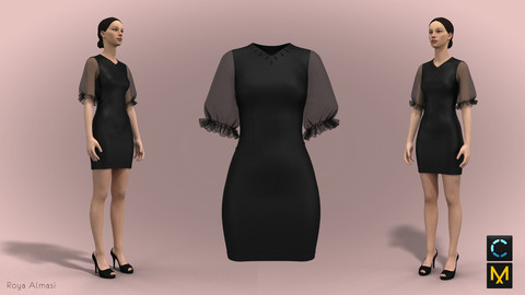 Black puffy sleeves dress