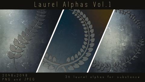 Laurel Alphas - Leaf Wreath Ornament Alpha pack for Substance, PNG, JPEG