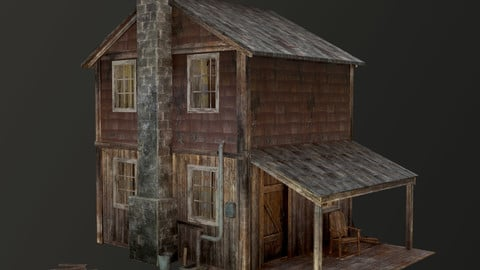 House with interior ( Village House / Forest House) Low-poly, game-ready