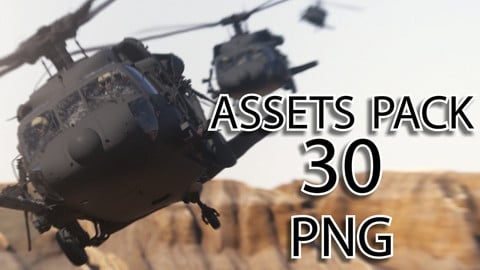PNG Resources Pack - Uh-60 Black Hawk Helicopter - 30 Poses - Including Rotors Blur, Pilots, Lights, Gunners and Soldiers on board