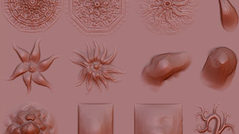 various zbrush brushes for 2d sculpted tiles or floral patterns