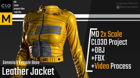Female Leather Jacket. Clo3d, Marvelous Designer project + FBX + OBJ + Video.