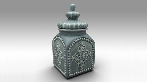 Ceramic decorative canister ( Jar )