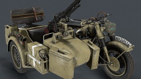 German motorcycle with sidecar WW2 3d model