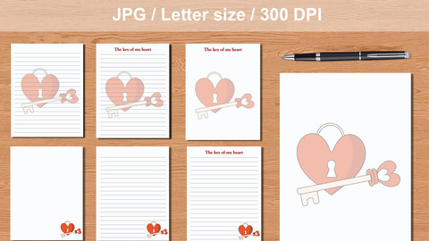 Pack 7 printables journal pages The key of my heart