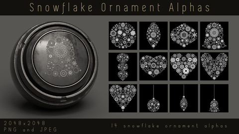 Christmas Snowflake Ornament Alpha pack for Substance, PNG, JPEG