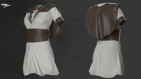 Female Medieval Mini Dress - 53 Marvelous Designer and Clo3D