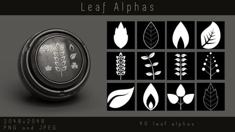 Stylized Leaf Alphas - Foliage Leaves Alpha pack for Substance, PNG, JPEG