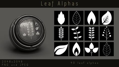Stylized Leaf Alphas - Foliage Leaves Alpha pack for Substance, PNG, JPEG