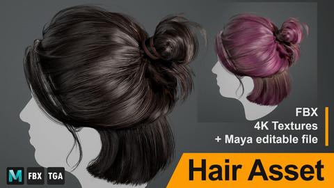 "Realtime Hair Asset ""Ellie"" - 4K Textures + Maya editable file"