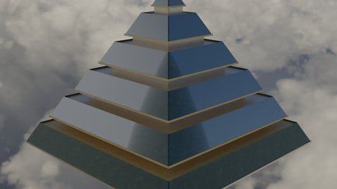 Golden and Green Marbled Pyramid with Squared Spike