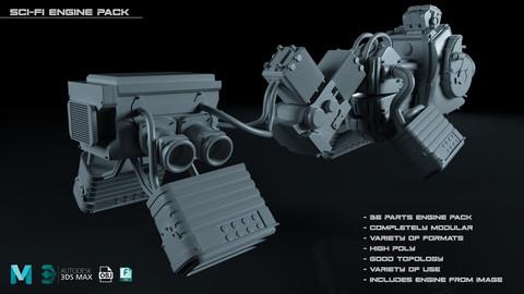 SciFi Engine Pack- High-poly/3D Assets/Formats(MB, Max, OBJ, FBX)