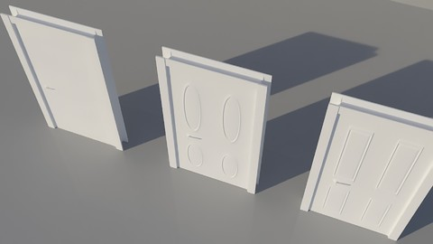 White 3  Doors 3D model Low-poly 3D model