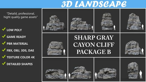 Low poly Gray Cliff Rock 2020 Package B