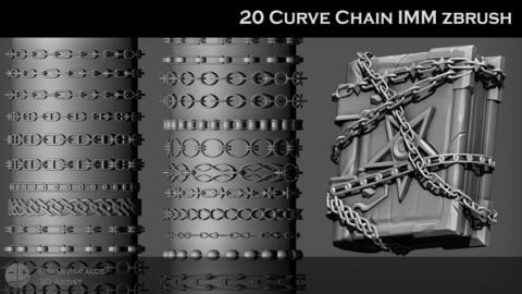 🔗  CHAINS 20 IMM Curve Pack ZBRUSH Brushes 🔗