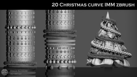 20 Christmas  IMM Curve Zbrush Brushes