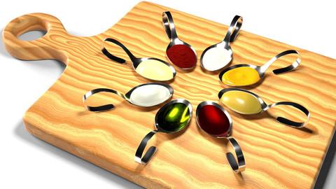 3D Appetizer sauce spoons