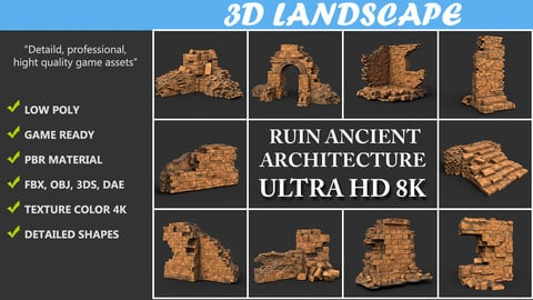 Low poly Ruin Sandstone Medieval Construction Pack B 200604