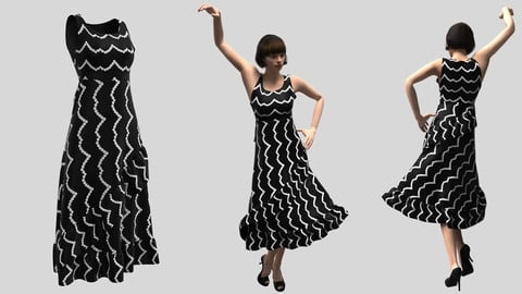 Black Frock in Marvelous Designer