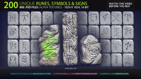 VOL. 2 - 200 Runes, Signs & Symbols (800 Alpha Textures)  Zbrush, Blender, Substance...