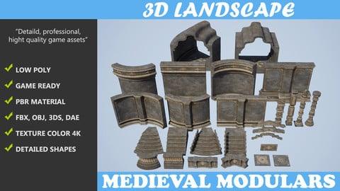 Low poly Medieval Modular Construction Pack A 200525