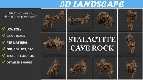 Low poly Yellow Stalactite Cave Rock Modular Pack 200215