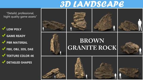 Low poly Brown Granite Rock Formation Pack 200207