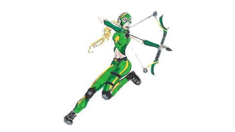 Artemis in action -handdrawn cartoon/vector/graphic