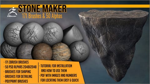 Stone Maker: 171 ZBrush Brushes And 50 Alphas