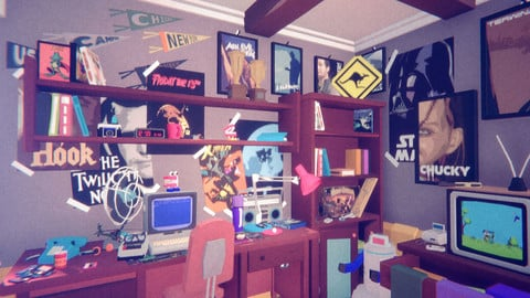 1980 - Retro Youth Room modular interior and props