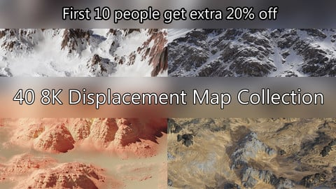 Realistic Terrains Collection Nr. 01 - 40 Displacement Maps with Masks and .blend file