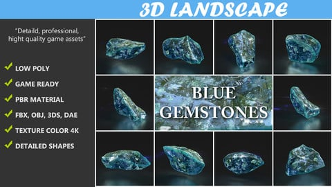 Low poly Blue Gemstone Pack 200115