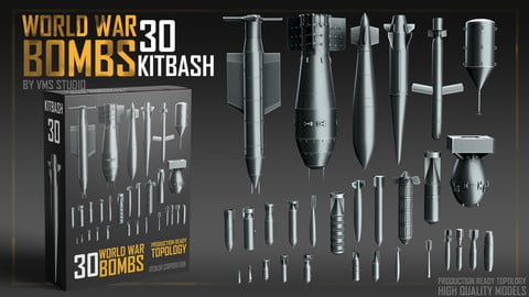 World War Bombs KITBASH  bundle [30 Unique Rockets and Bombs]