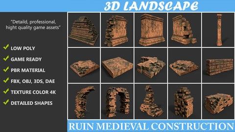 Low poly Ruin Construction Pack A -190923