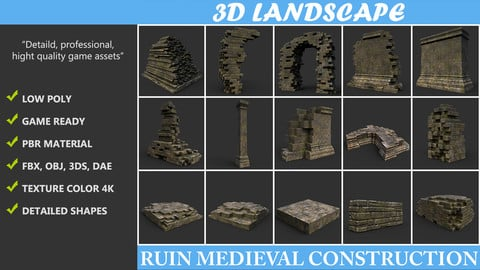 Low poly Ruin Construction Pack B -190923