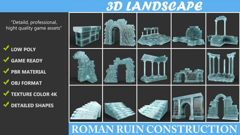 Low poly Ancient Roman Ruin Construction Pack 02 - Frozen Ice
