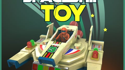 Vintage Spaceship Toy (low poly)