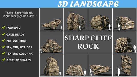 Low poly Rock Cliff Pack 191223