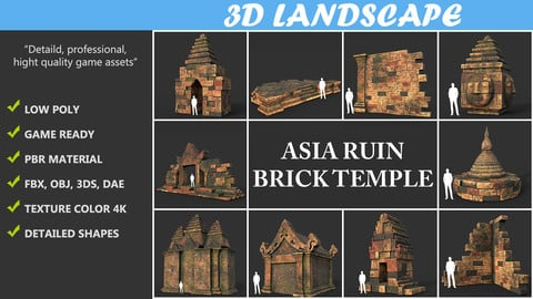 Low poly Mossy Brick Ruin Asia Temple Pack 190815