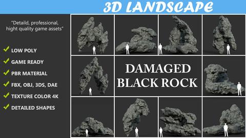 Low poly Damaged Black Rock Pack B-190430