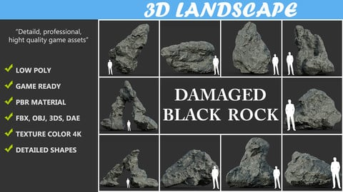 Low poly Damaged Black Rock Pack A 190425