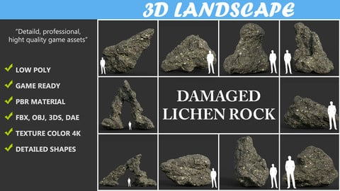 Low poly Damaged Lichen Rock Pack A 190425