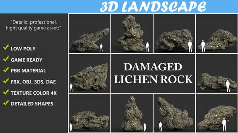 Low poly Damaged Lichen Rock Pack B 190425