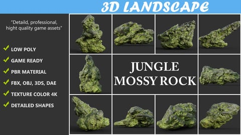 Low poly Damaged Jungle Mossy Rock Pack B 190425