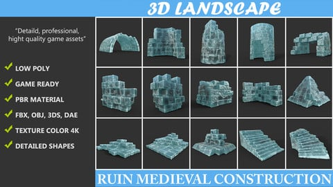 Low poly Frozen Ice Ruin Medieval Construction Pack 190423
