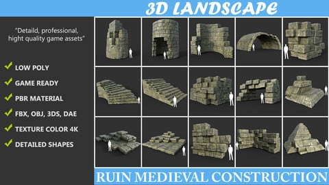 Low poly Mossy Ruin Medieval Construction Pack 190423