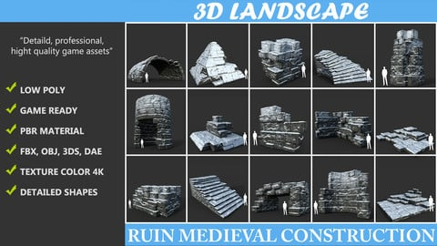 Low poly Snow Ruin Medieval Construction Pack 190423