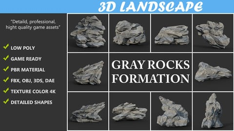 Low poly Gray Rock Formation Pack B 190421